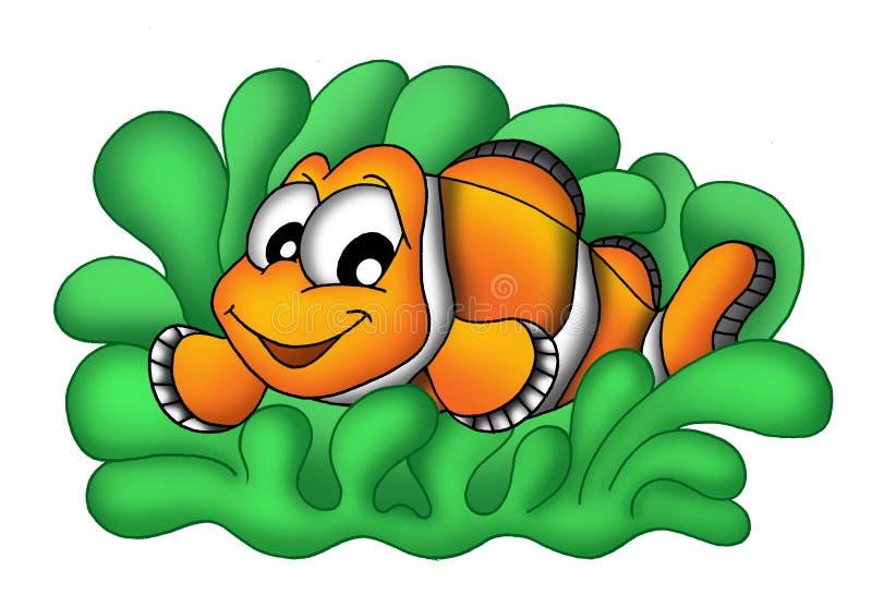 Clownfish no anemone ilustração royalty free