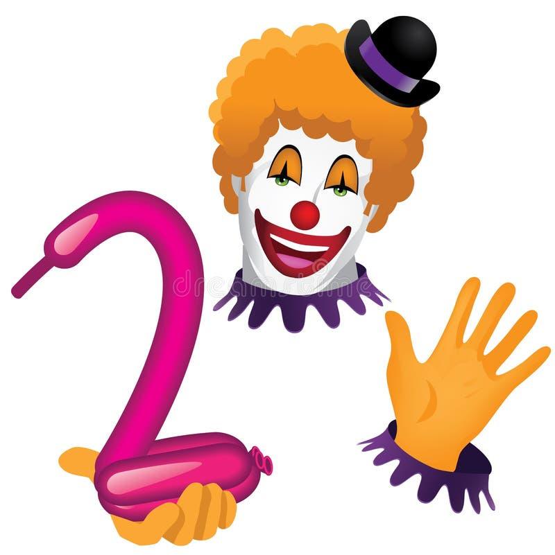 Clownframsida och händer med ballongdjuret royaltyfri illustrationer