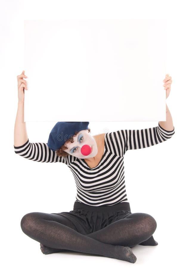 Download Clownfrauen-Holdinganschlagtafel Stockbild - Bild von baumuster, pantomime: 12200233