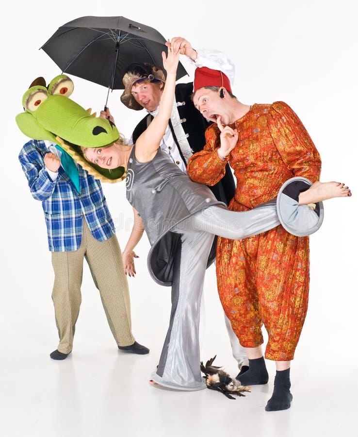 Clowning degli attori fotografia stock