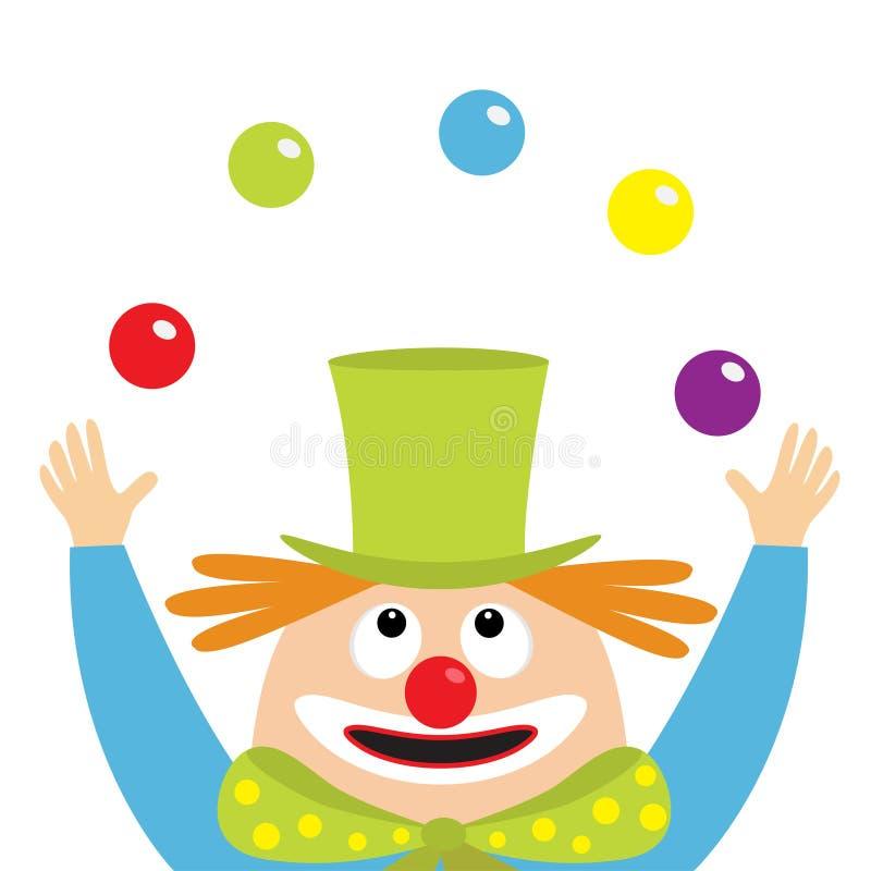 Clownjuggler gezicht het hoofd kijken omhoog met het jongleren ballen Circussymbool Ogen, rode neus, mondglimlach, oranje haar, h stock illustratie