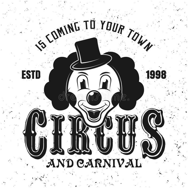 Clownkopfschwarzemblem, -aufkleber, -ausweis oder -logo stock abbildung