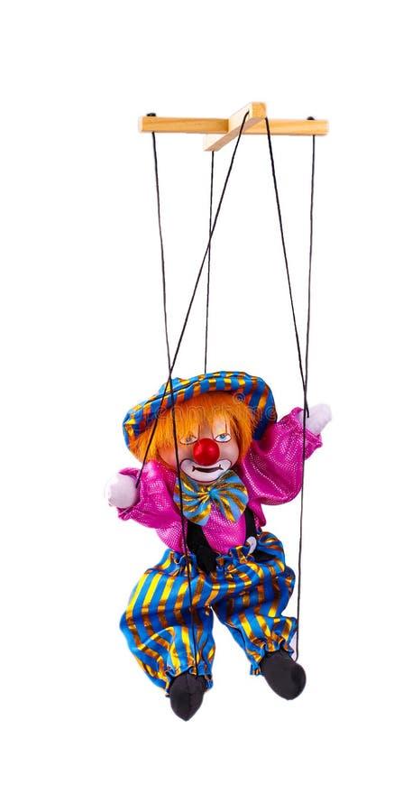Clownmarionette lokalisiert auf weißem Hintergrund stockfotografie