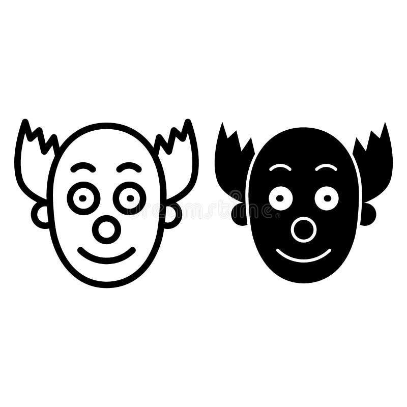 Clownmaskenlinie und Glyphikone Gesichtsnetz-Vektorillustration lokalisiert auf Weiß Halloween-Kostümentwurfs-Artdesign lizenzfreie abbildung
