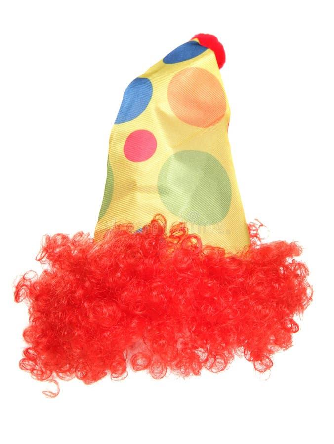 Clownmaskeradkläderhatt och peruk fotografering för bildbyråer