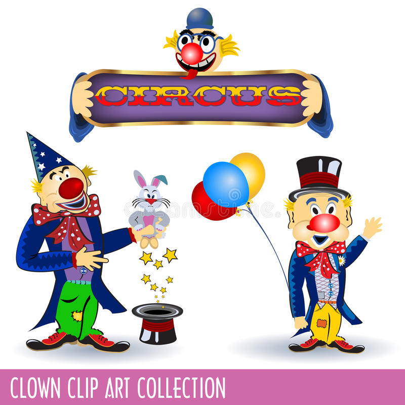 Clowns. Clip art collection of three different clowns in three different situations vector illustration