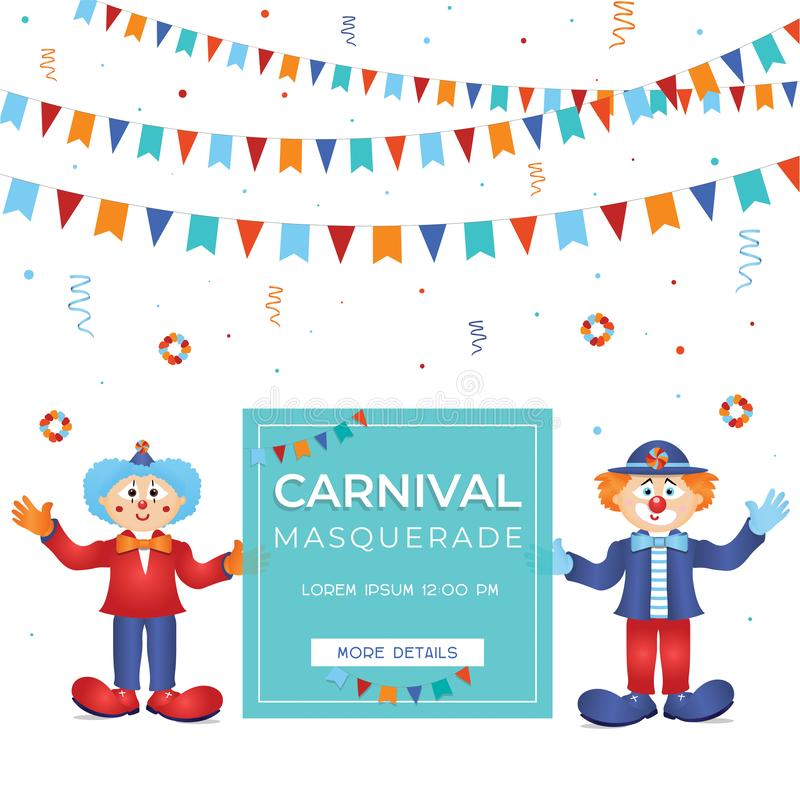 Clowns colorés funfar de witn de calibre de carnaval illustration stock