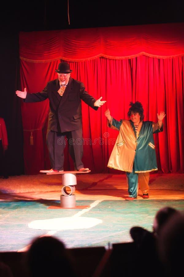 Clowns dans le cirque photographie stock
