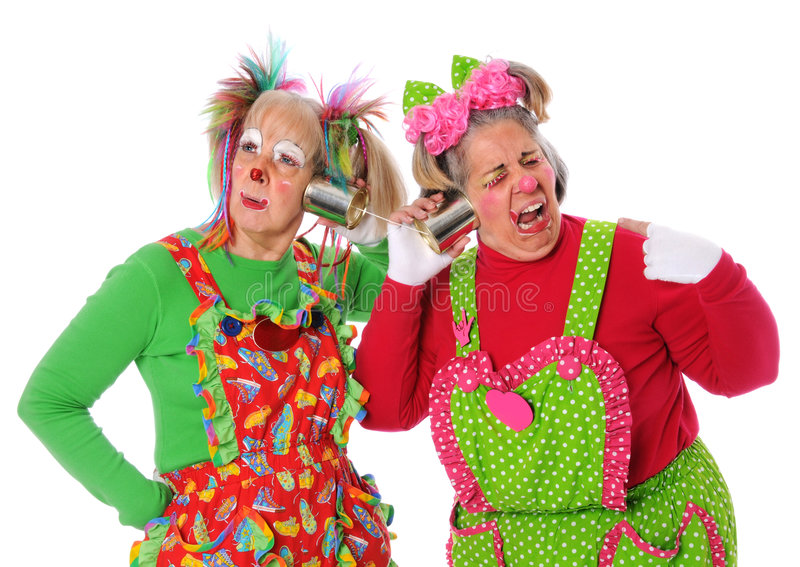 Download Clowns Having Problems With Communication Stock Image - Image of hair, yellow: 6302057