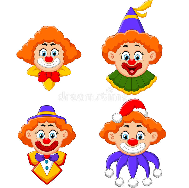 Clowns head collection royalty free illustration