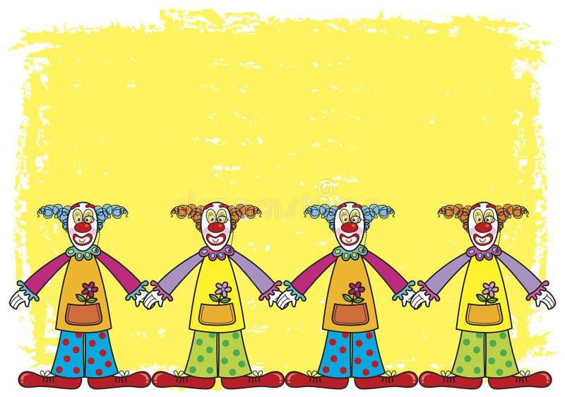 Clowns met gele achtergrond vector illustratie