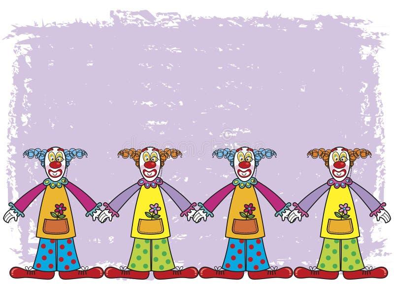 Clowns met purpere achtergrond royalty-vrije illustratie