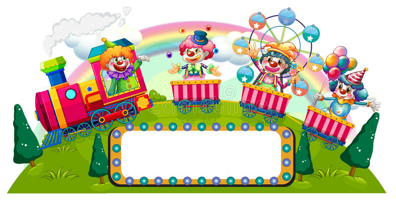 Clowns riding on train vector illustration