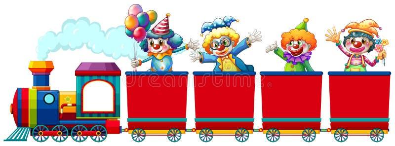 Clowns riding on train stock illustration