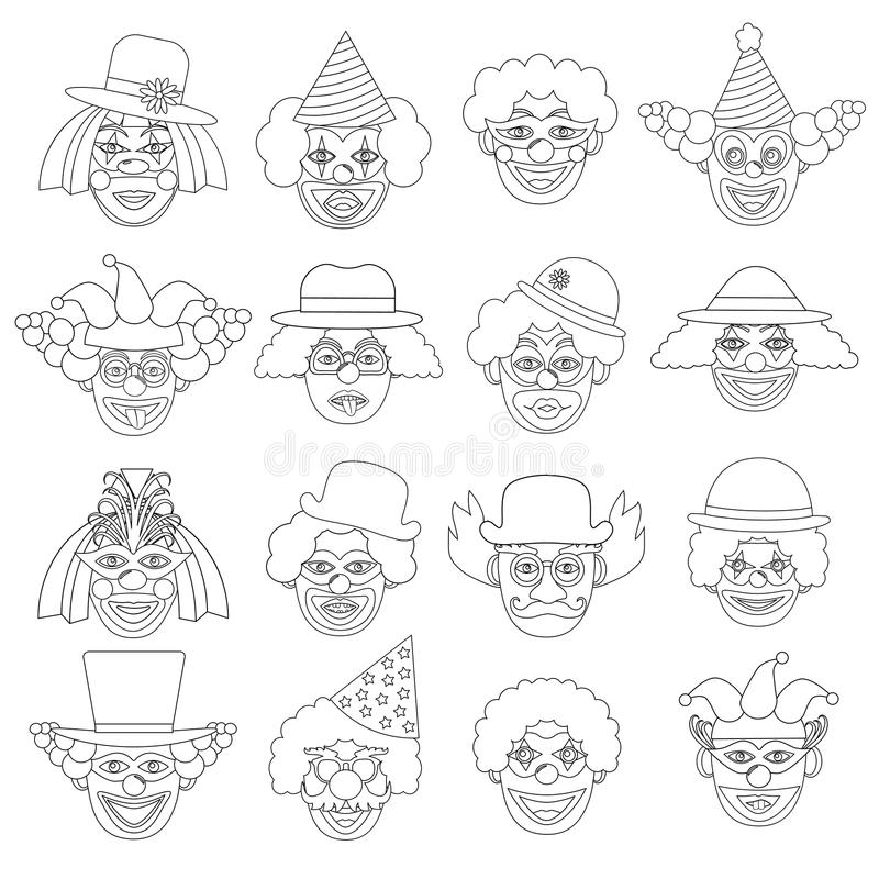 Clowns set, icons. Coloring page. Vector illustration. Clowns set, icons. Coloring page. Vector illustration royalty free illustration