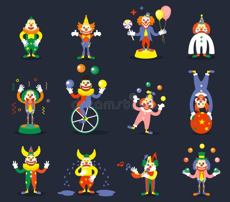 Clownvektorcharaktere lizenzfreie abbildung