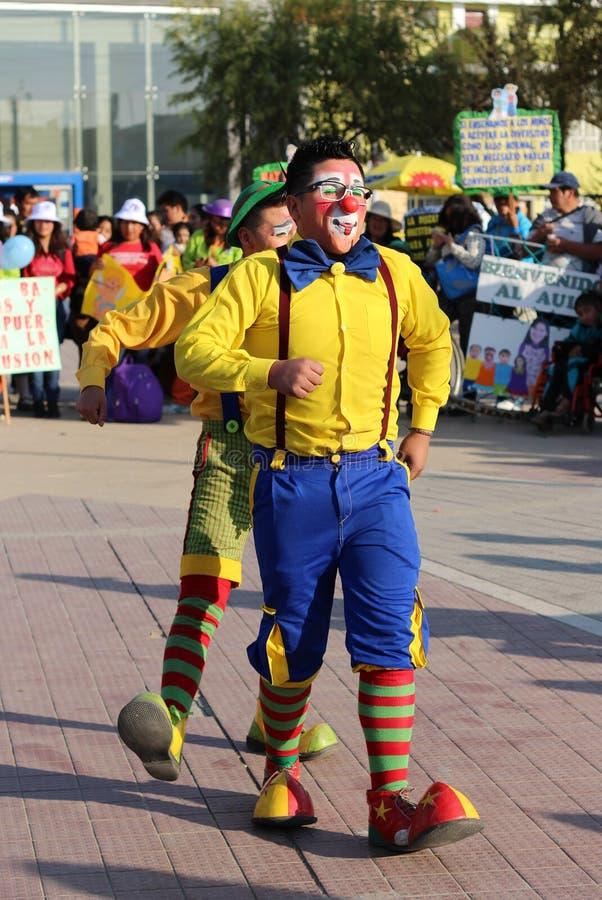 Clownvorführen stockfoto