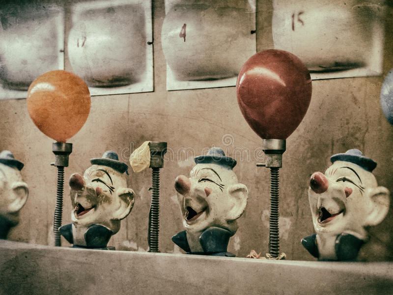 ClownWater Gun Game tappning royaltyfri foto