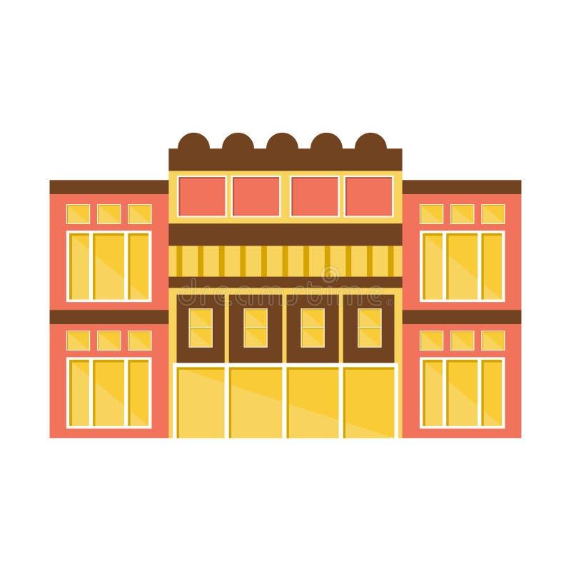 Clssical桃红色和黄色商城现代大厦外部设计项目模板被隔绝的平的例证 库存例证