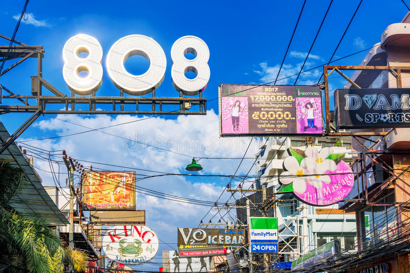 Club and bar signs on Walking street stock photography