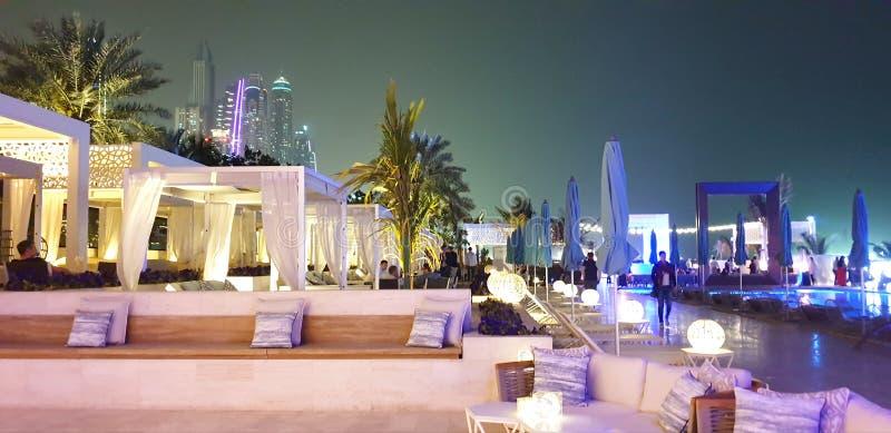 Club. Beach night nightlife dubai white luxery decor outdoor stock photography
