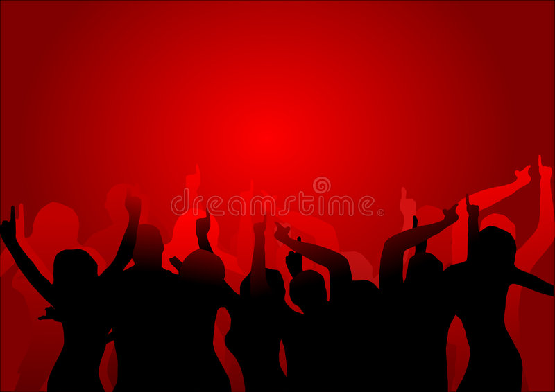 Club Dancers. A group of dancers in silhouette in a night club illuminated by a red background light background. The additional format is saved as an EPS vector stock illustration
