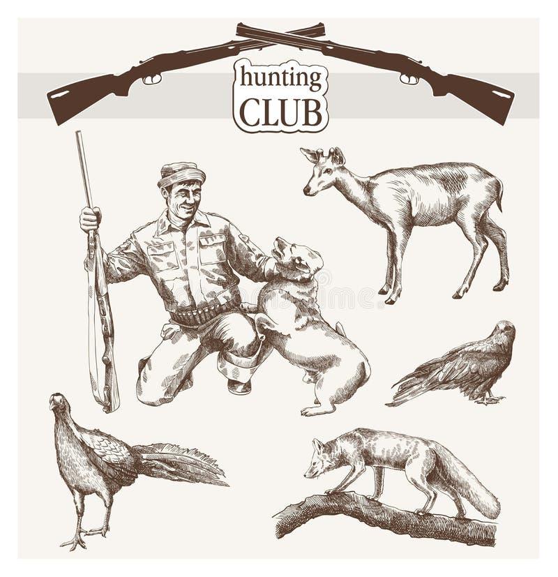 Club de caza stock de ilustración