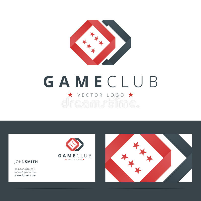 Club de jeu ou calibre de logo de casino avec des affaires illustration libre de droits