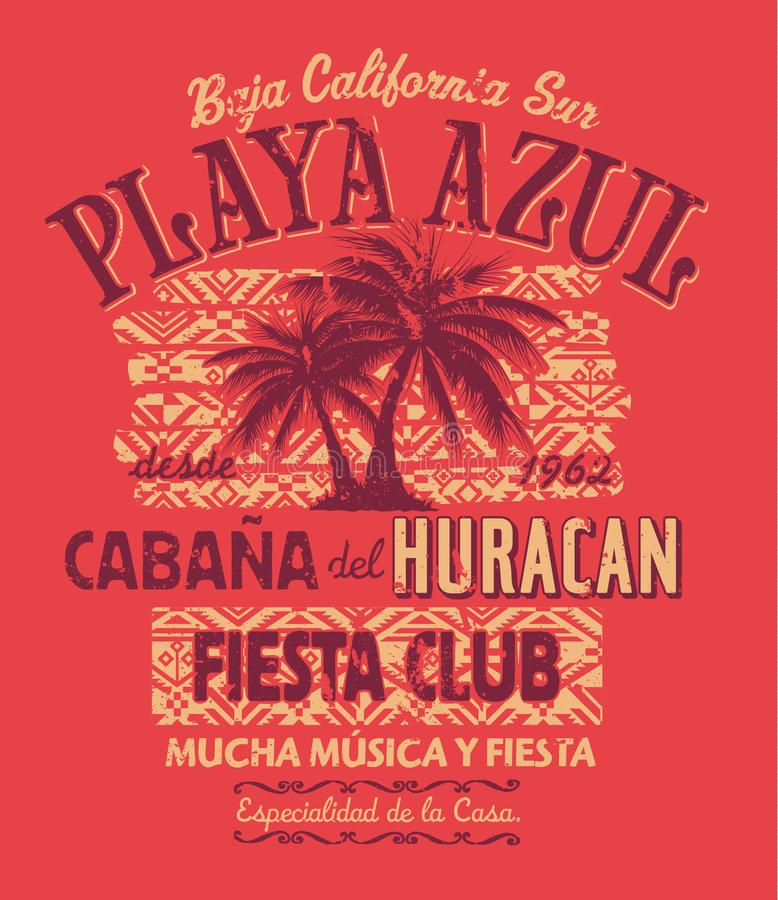 Club de la fiesta de Baja California ilustración del vector