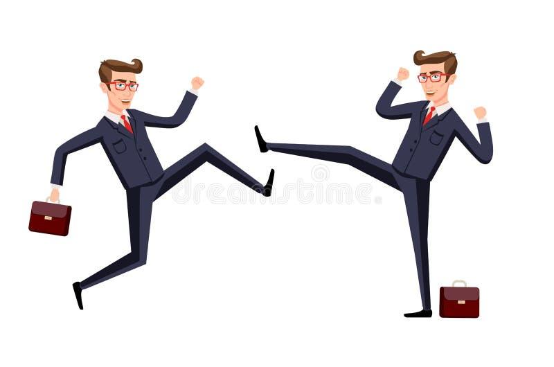 Club de la lucha del negocio karate, empresarios y violencia, fuerza del combatiente Ilustración del vector stock de ilustración