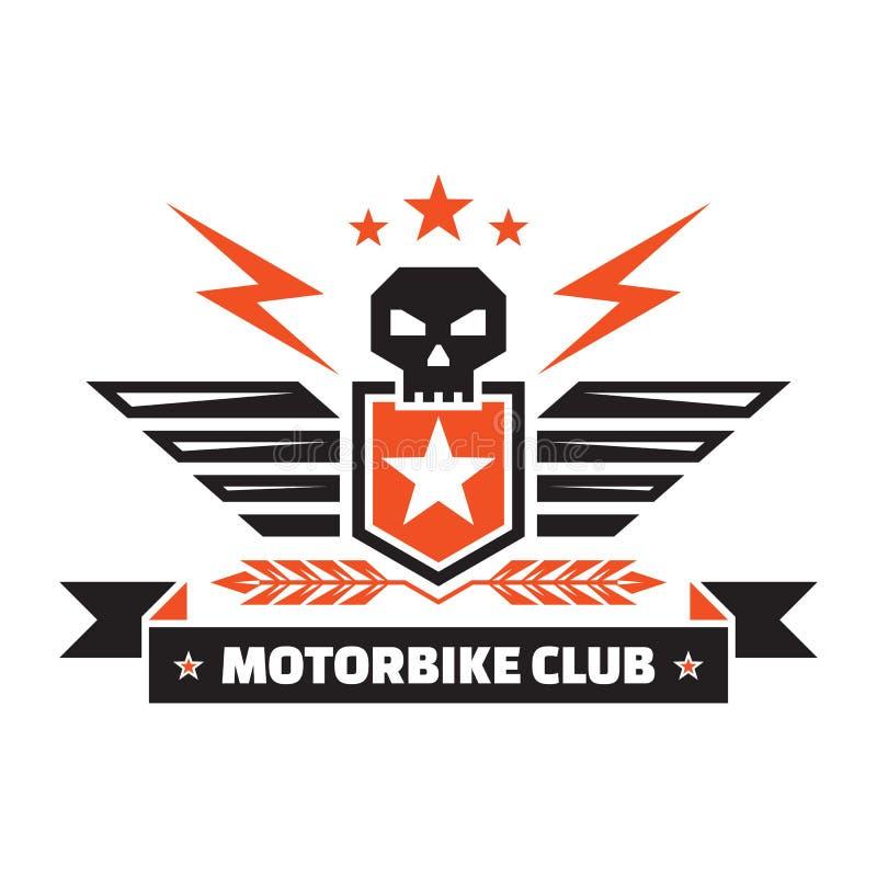 Club de la moto - insignia del vintage - cráneo, escudo, alas, iluminaciones, oídos, estrellas, cinta Diseño creativo de la insig ilustración del vector
