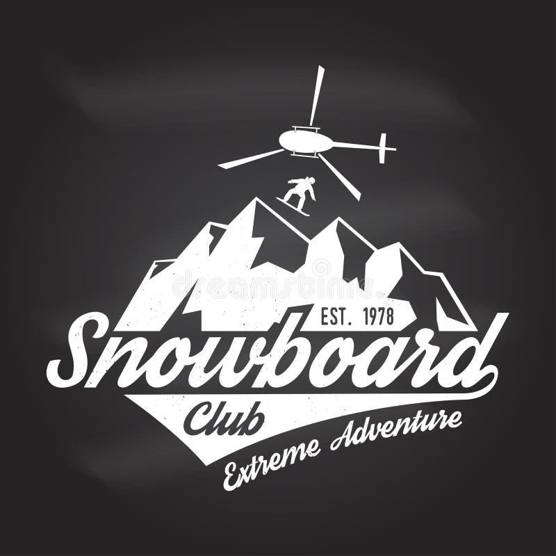 Club de la snowboard Ilustración del vector Concepto para la camisa o logotipo, impresión, sello o camiseta ilustración del vector