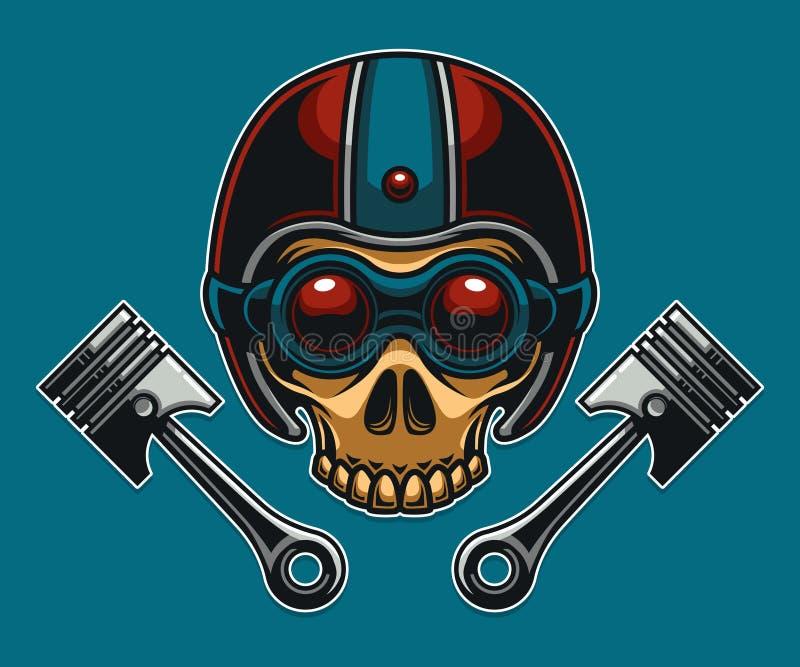 Club de motard de moto de crâne illustration libre de droits