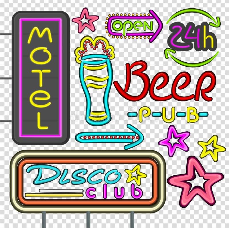 Club de neón del disco del letrero, diseño del Pub de la cerveza plano ilustración del vector