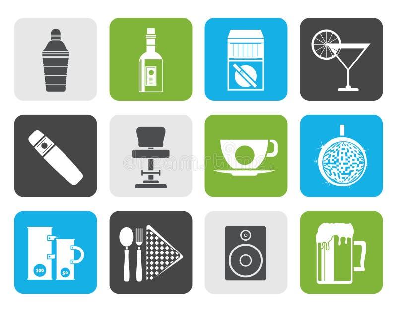 Club de noche, barra e iconos planos de la bebida ilustración del vector
