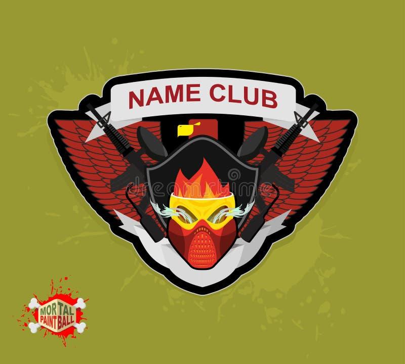 Club de paintball de logo Paintball mortel Armes à feu et masque illustration stock