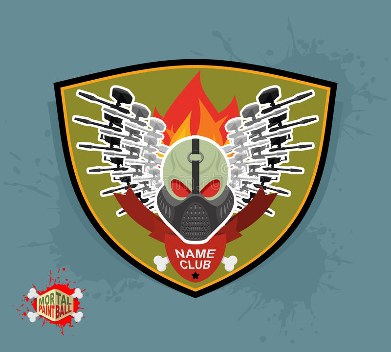 Club de paintball de logo Paintball mortel Armes à feu et masque illustration stock
