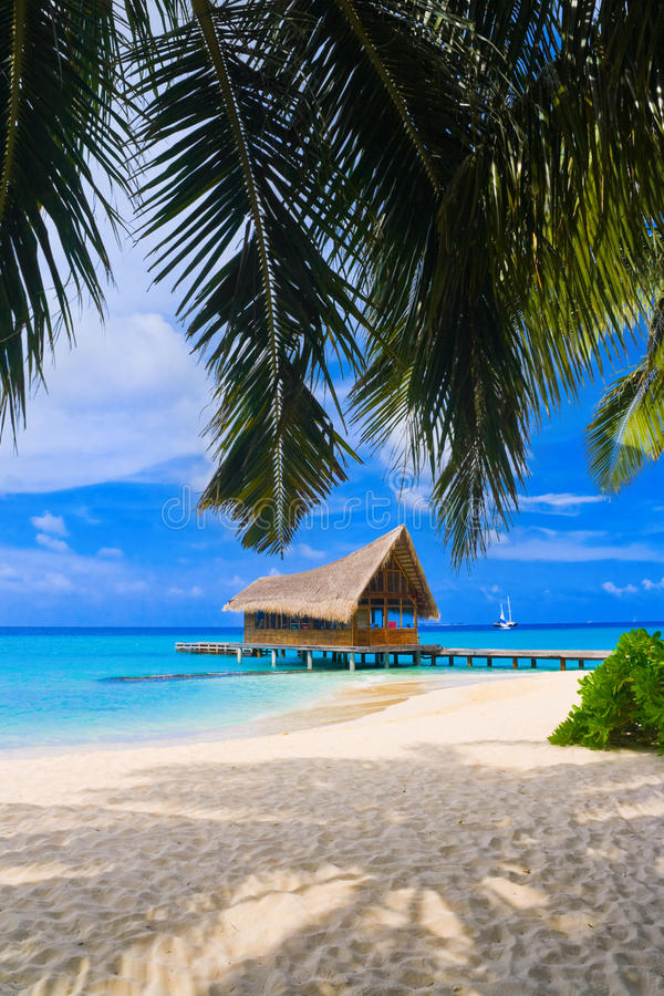 Club de plongée sur une île tropicale images libres de droits