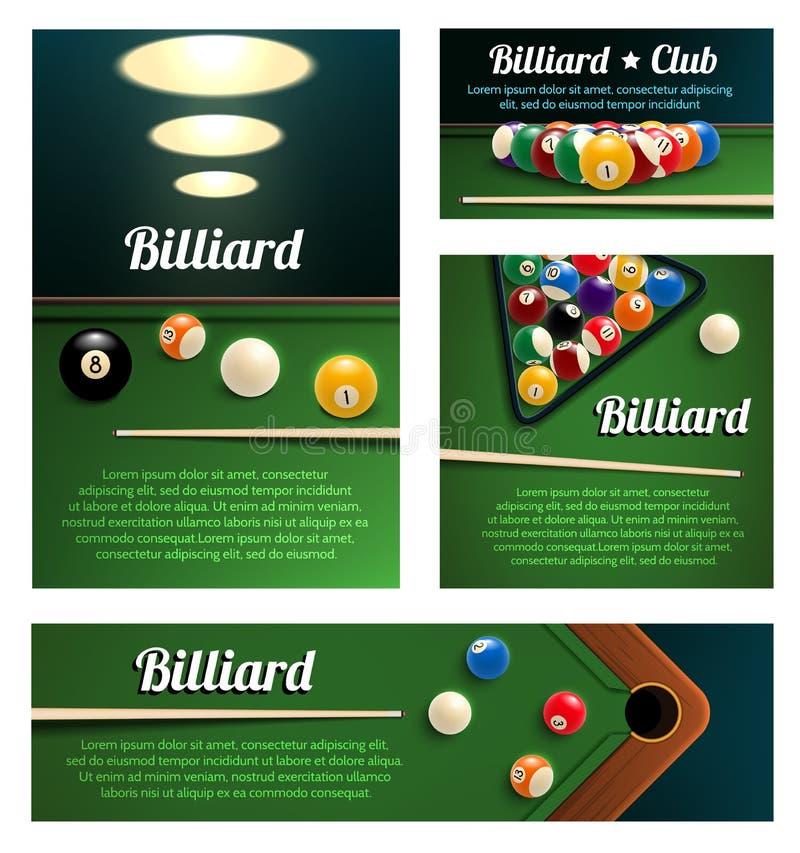 Club de sport de billard et calibre de bannière de salle de billard illustration stock