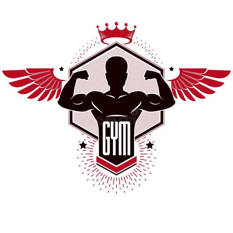 Club de sport de logotype de gymnase d'haltérophilie de bodybuilding, rétro styliz illustration libre de droits