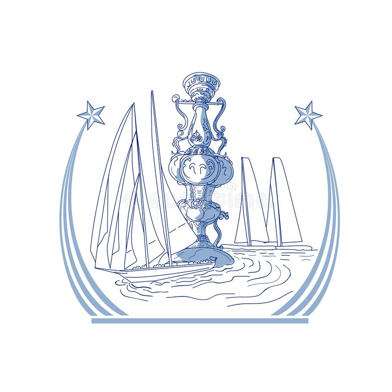 Club de yacht emballant le dessin de tasse de trophée illustration stock