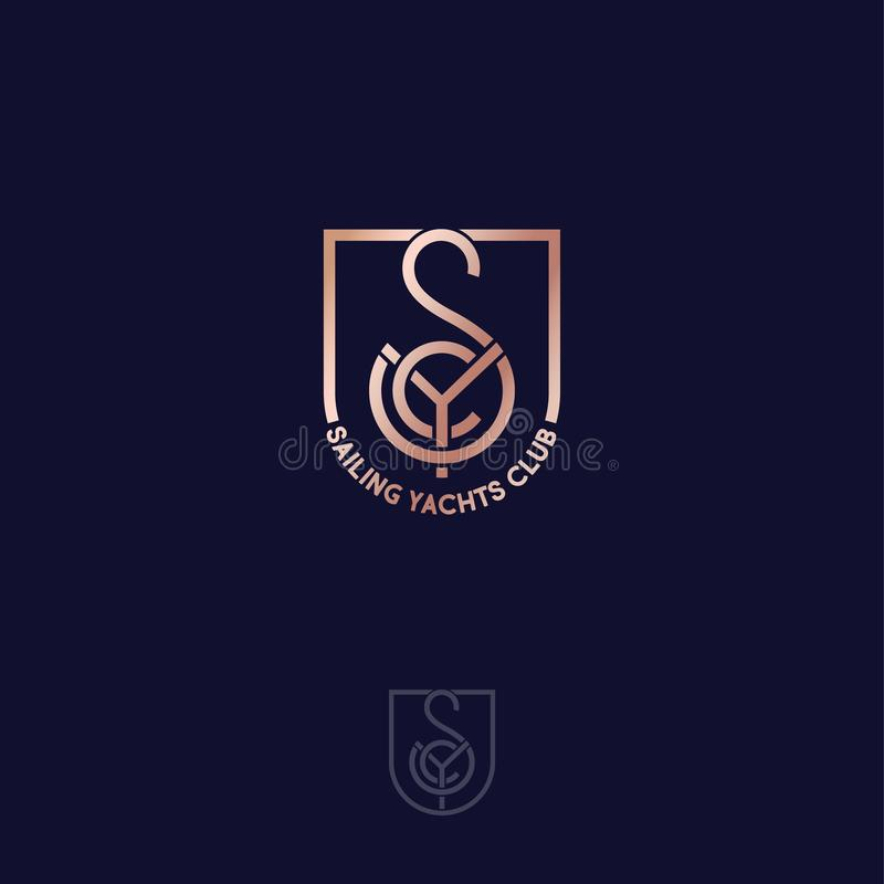 Club de yachts de navigation S, Y, monogramme de C se composent des lignes d'or, dans un bouclier illustration de vecteur