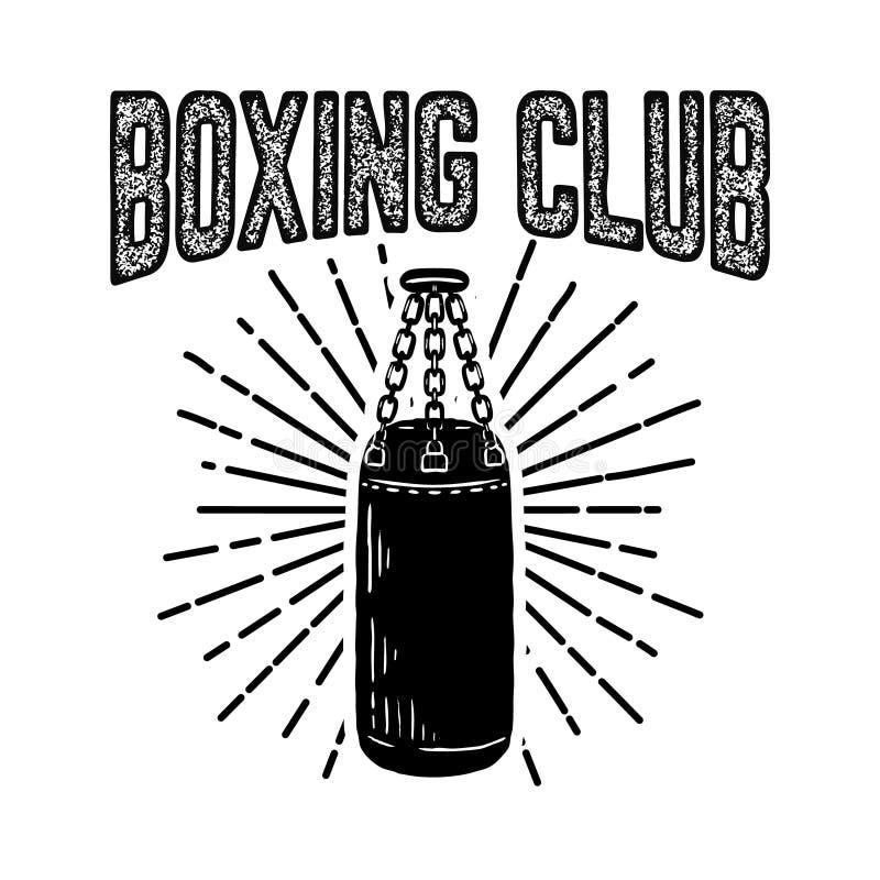 Club Del Boxeo Del Campeón Plantilla Del Emblema Con El Saco De ...