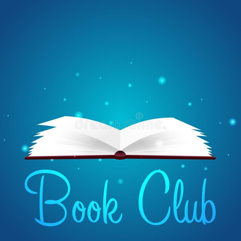 Club del libro Club di lettura Libro aperto con luce intensa mistica Illustrazione di vettore illustrazione vettoriale