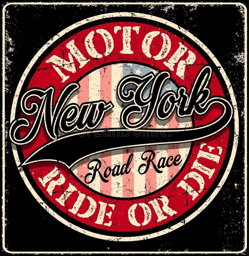 Club del motor de la tipografía de Nueva York stock de ilustración
