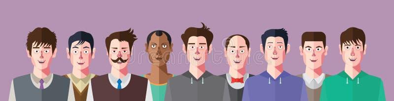 Club delle reti sociali dell'uomo, carattere piano di progettazione illustrazione vettoriale