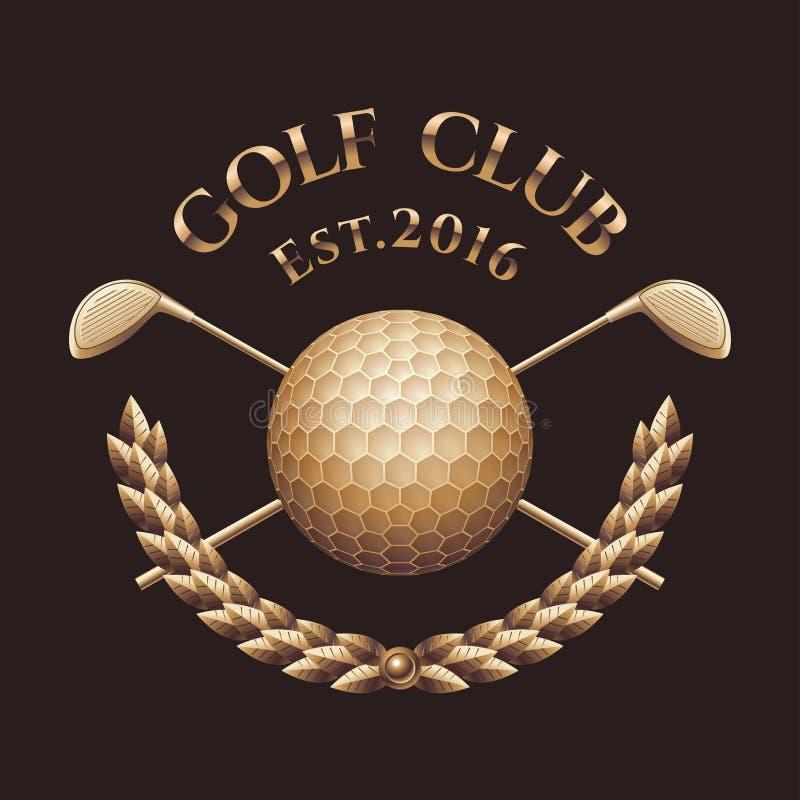 Club di golf, logo di vettore del campo da golf illustrazione vettoriale