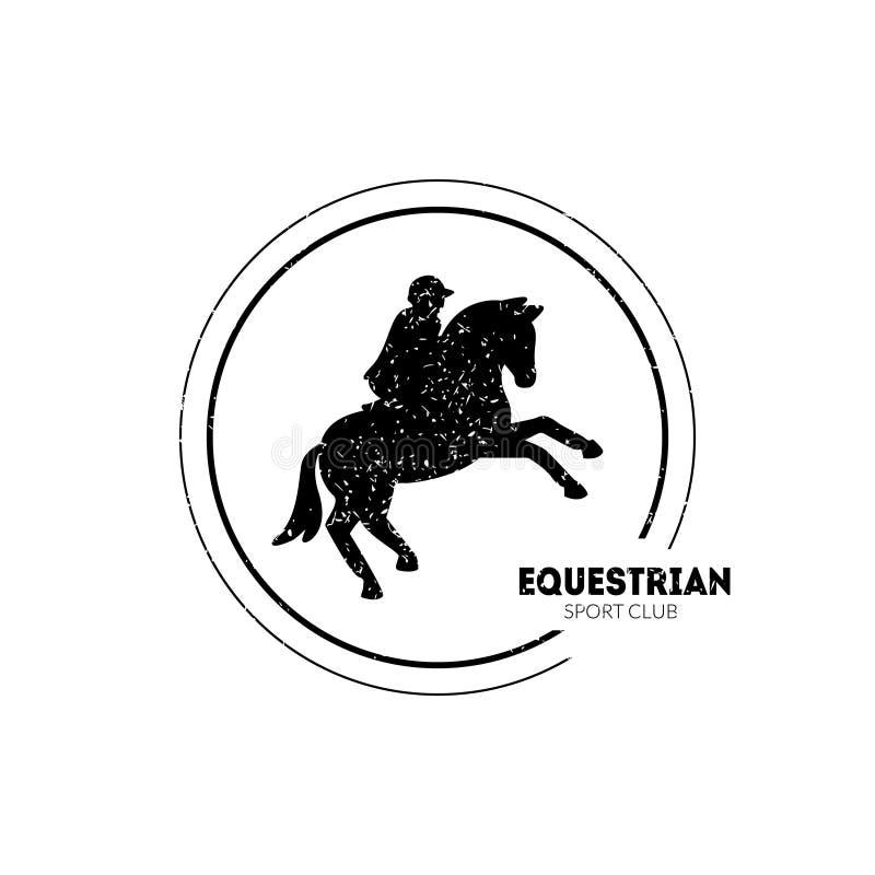 Club di sport equestre Logo Template con il cavallo e la puleggia tenditrice di salto Vector Illustration royalty illustrazione gratis