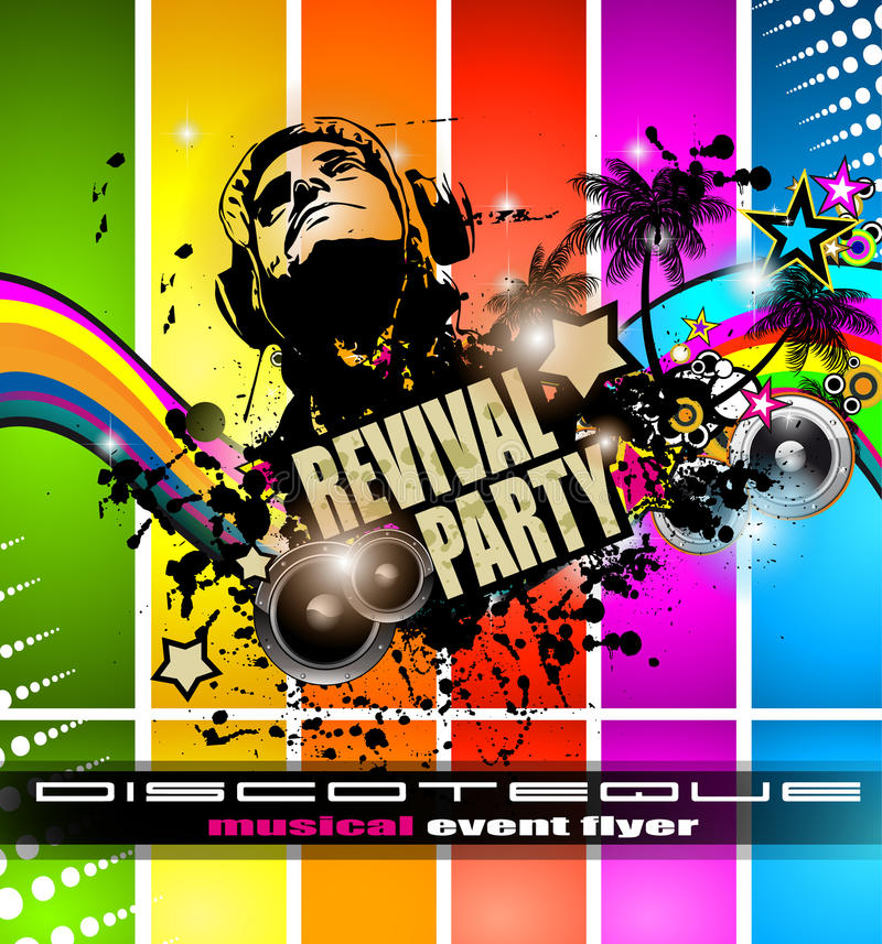 Club Disco Flyer Template With Music Elements Stock Vector