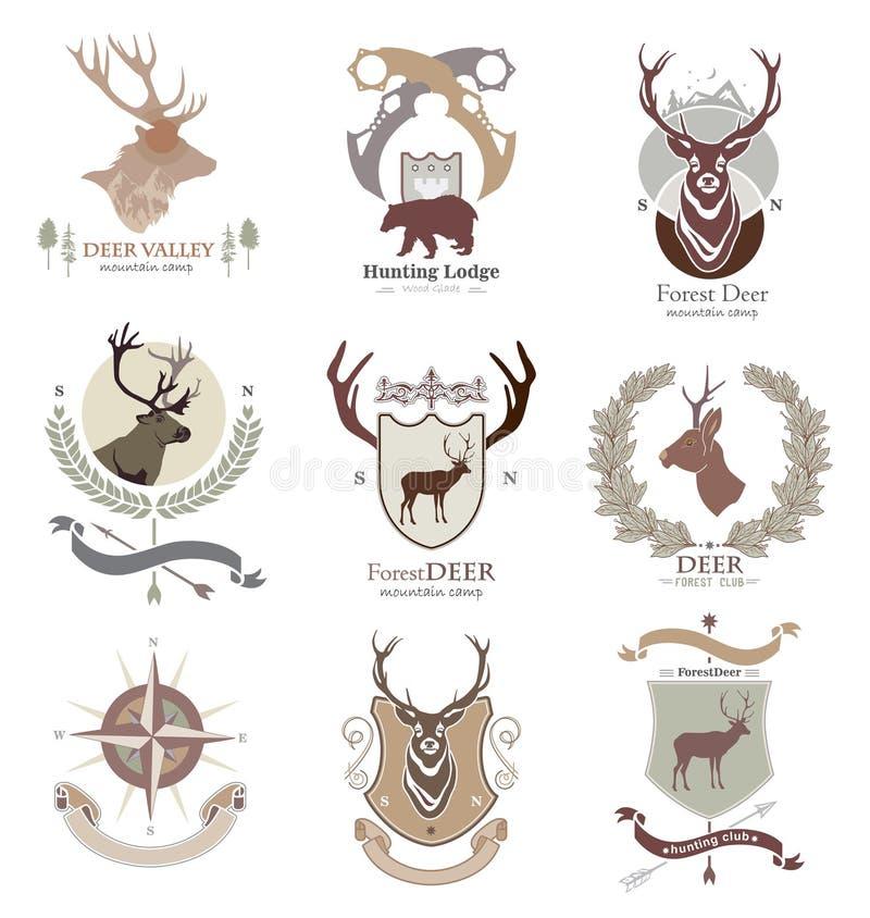 Club el acampar y de caza del estilo del campo, logotipo, emblema, ejemplo en el formato del vector conveniente para el web, impr stock de ilustración